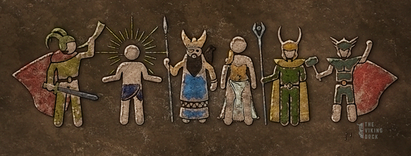 artistic representation of the norse gods of norse mythology including loki, odin, thor, tyr, freya and more.