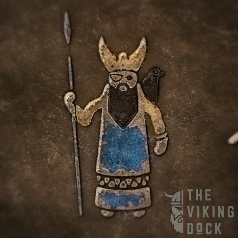 artistic representation of Norse god Odin the Allfather, ruler of Asgard.