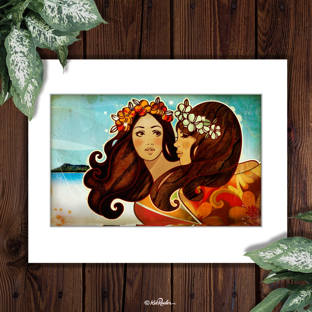 Hawaiian Girls - 11x14 Matted Print