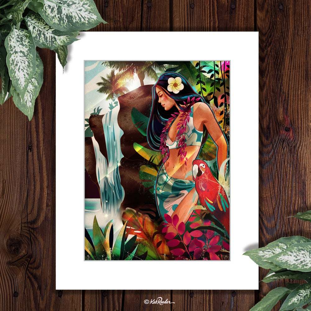 Tropical art decor hawaiian art hula girl Kat Reeder