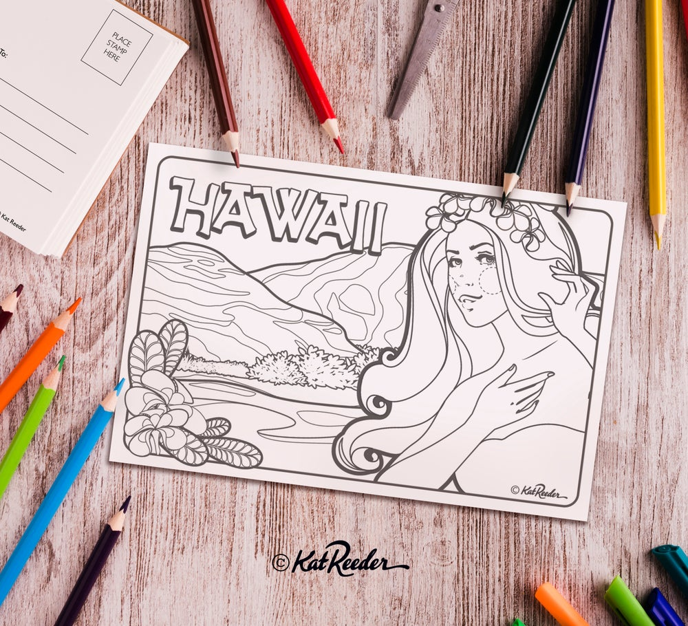 Hawaii - 4x6 Coloring Postcard