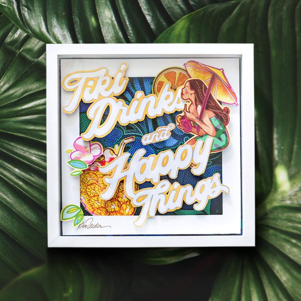 Tiki Drinks-3D Pop Shadow Box