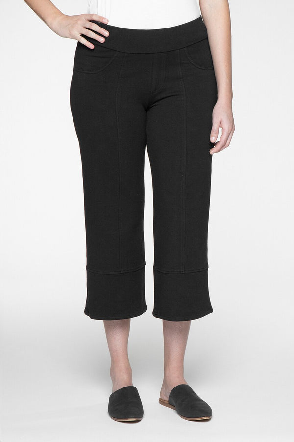 Bennet Wide Leg Crop Pant -                           			Black