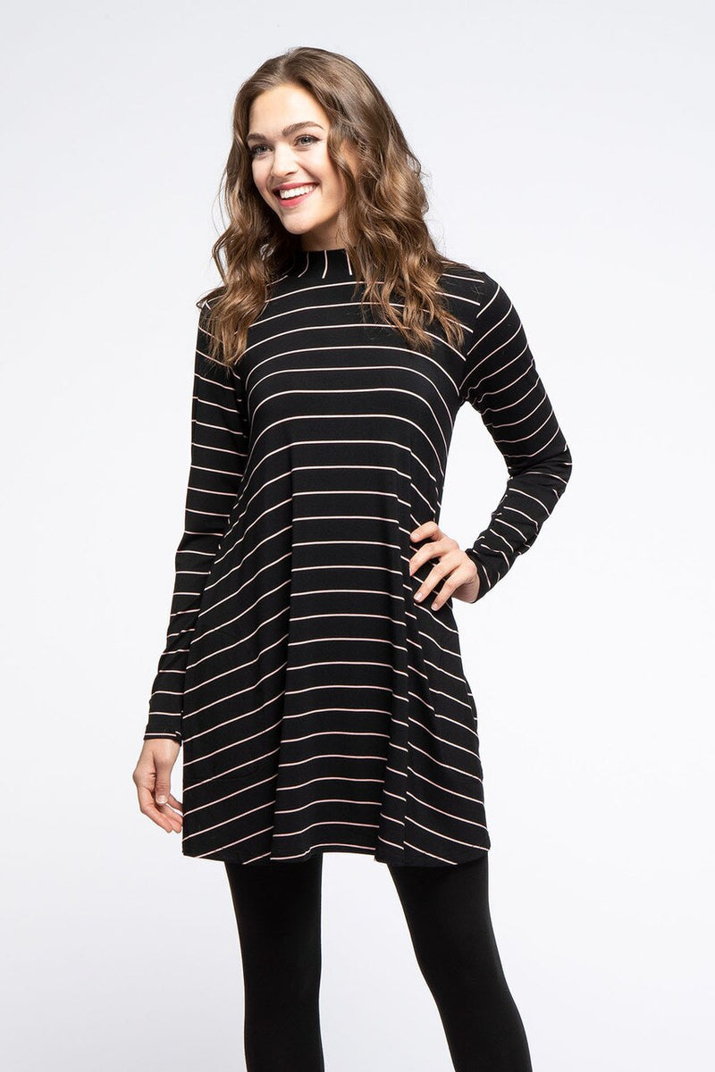 Cadence Mock Neck Bamboo Swing Dress