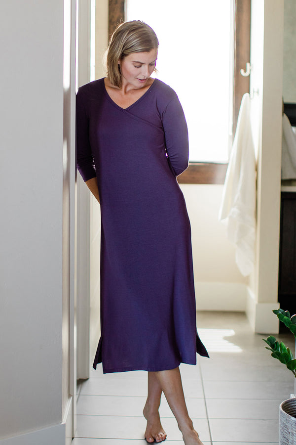 Haley Crossover Front 3/4 Sleeve Bamboo Nightgown