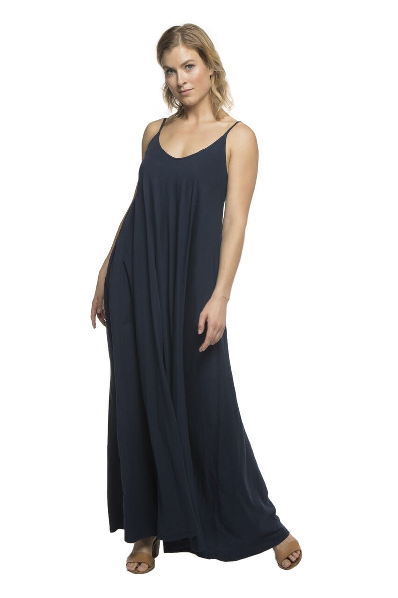 Havana V-Back Maxi Dress with Pockets