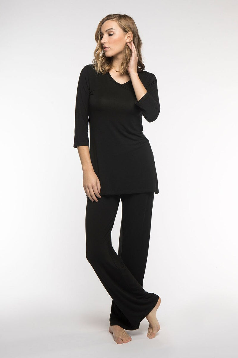 Haley Crossover Front 3/4 Sleeve Bamboo Pajama Set