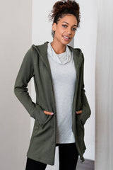 Jemma Zip-Up Long Organic Cotton & Bamboo Hooded Jacket