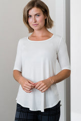 Sandy Relaxed Fit Scoop Neck Short Sleeve Bamboo Top