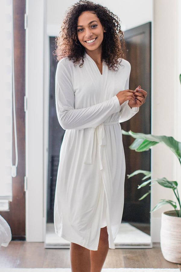 Serenity Long Sleeve Short Belted Bamboo Robe