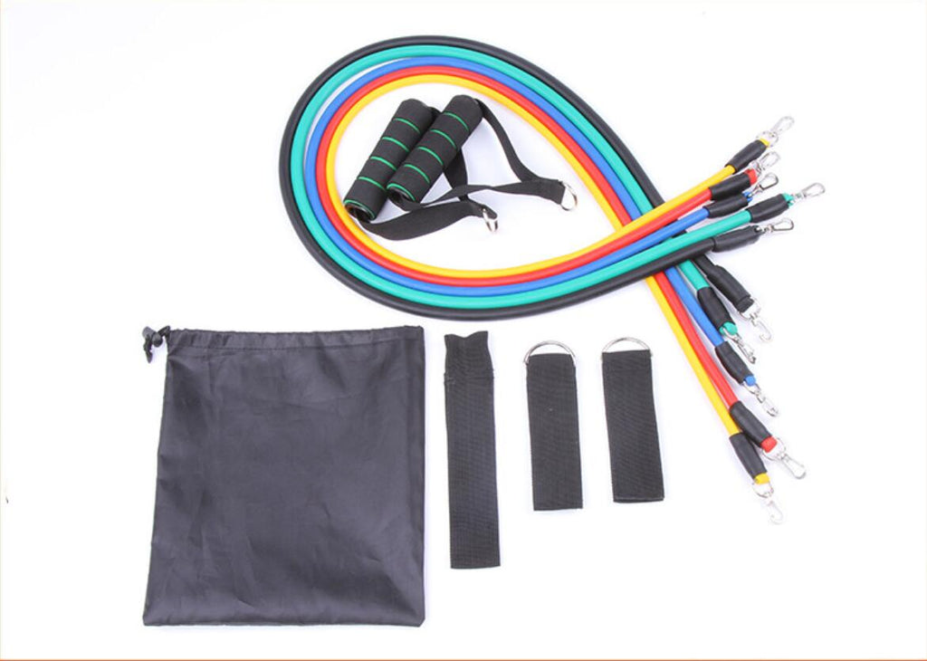 11 pieces set of resistance bands with accessories