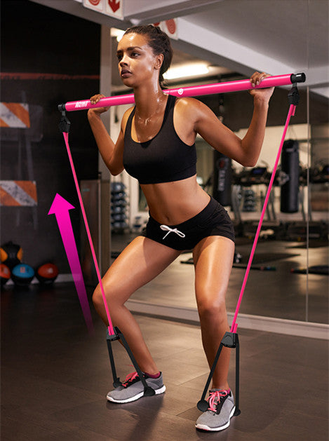Pilate bar with adjustable length resistance band