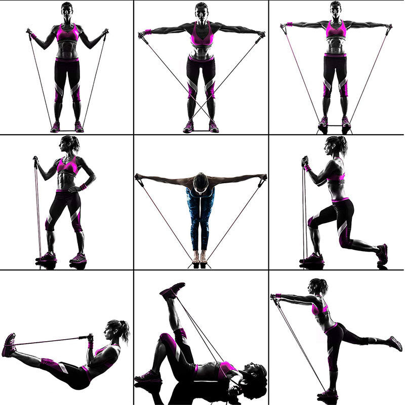 6 Full body exercise diagram for resistance bands
