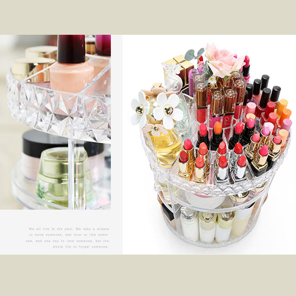 Makeup Organizer 360-Degree Rotating Adjustable Shelves Large Countertop Cosmetic Storage Clear