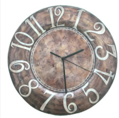 Eangee Clock White Numbers on Brown