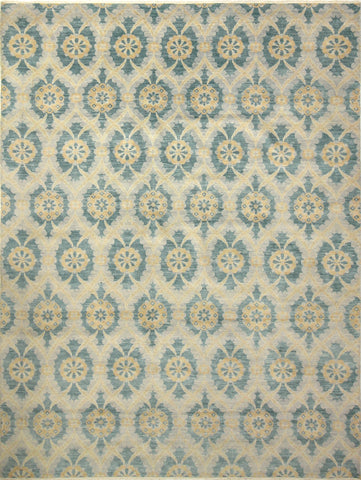 "Sophia Fahd Grey/Teal Green Rug, 9'1"" x 11'10"""
