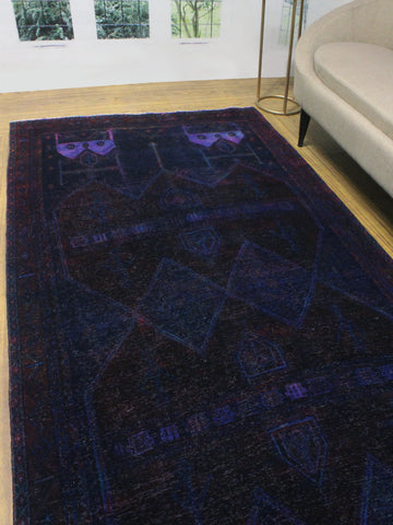 "Vintage Patrice Purple/Brown Runner, 4'11"" x 10'8"""