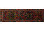 "Semi Antique Abderrah Rust/Green Runner, 3'4"" x 11'0"""