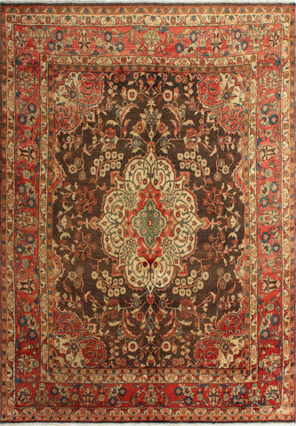 "Semi Antique Chadi Grey/Orange Rug, 6'7"" x 9'7"""