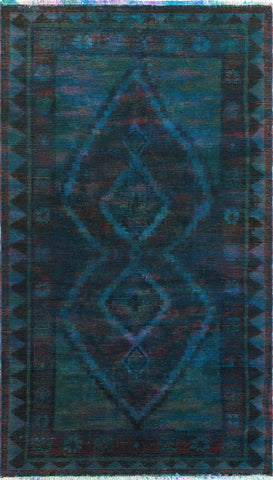 "Vintage Arzu Blue/Purple Rug, 4'9"" x 8'4"""