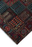 "Semi Antique Akhas Red/Blue Rug, 6'7"" x 9'11"""