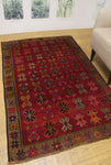 "Semi Antique Siddhart Red/Green Rug, 4'3"" x 6'7"""