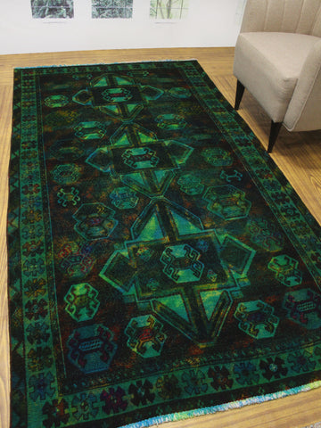 "Vintage Lucia Green/Blue Rug, 4'10"" x 8'9"""