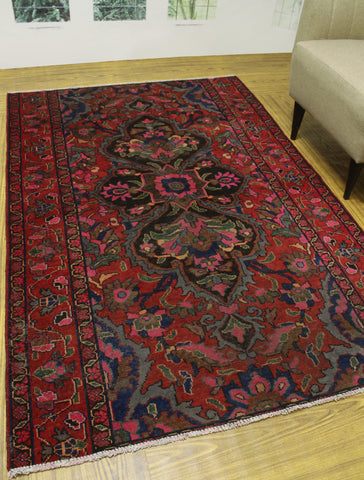 "Semi Antique Tadeo Red/Blue Rug, 4'8"" x 6'11"""