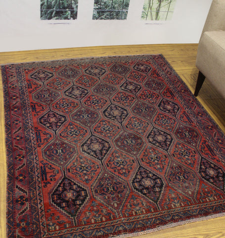 "Semi Antique Leah Red/Blue Rug, 4'10"" x 5'7"""