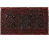 "Semi Antique Ibrahim Red/Black Rug, 3'9"" x 6'5"""