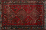 "Semi Antique Indira Red/Blue Rug, 4'10"" x 7'6"""