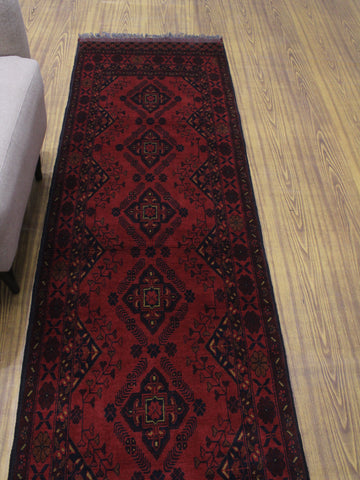 "Khal Mohammadi Chaymae Red/Black Runner, 2'8"" x 9'5"""