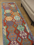 "Sangat Munira Rust/Blue Runner, 2'8"" x 9'9"""
