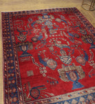 "Semi Antique Xiomara Red/Blue Rug, 5'0"" x 5'11"""