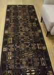 "Vintage Awf Blue/Brown Runner, 3'1"" x 8'11"""