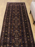 "Vintage Edgardo Blue/Brown Runner, 3'2"" x 9'8"""