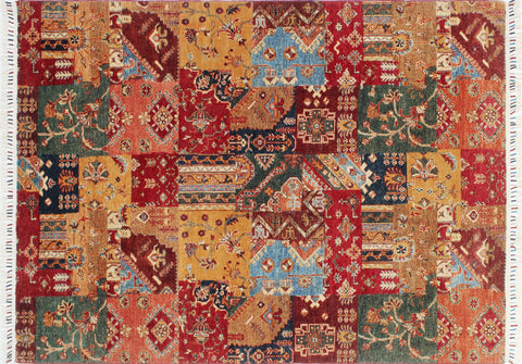 "Khurgeen Javed Gold/Green Rug, 5'8"" x 7'8"""