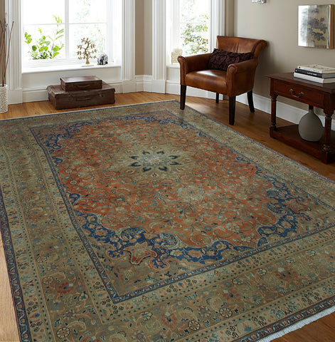 "Semi Antique Owen Orange/Brown Rug, 9'2"" x 12'7"""