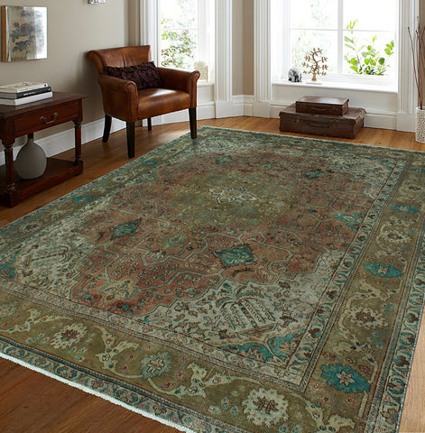 "Semi Antique Nafisa Rust/Green Rug, 9'5"" x 12'8"""