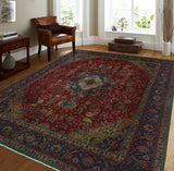 "Semi Antique Montserr Red/Blue Rug, 9'6"" x 12'5"""