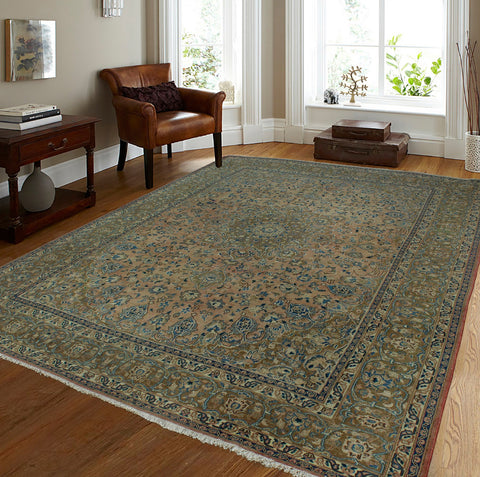 "Semi Antique Clevon Rose/Brown Rug, 9'6"" x 11'10"""
