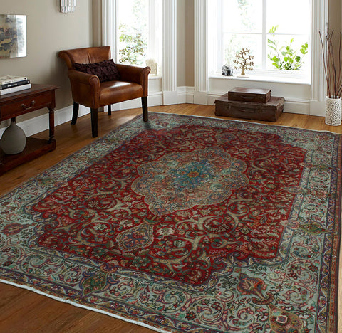 "Semi Antique Elias Red/Grey Rug, 9'7"" x 12'4"""