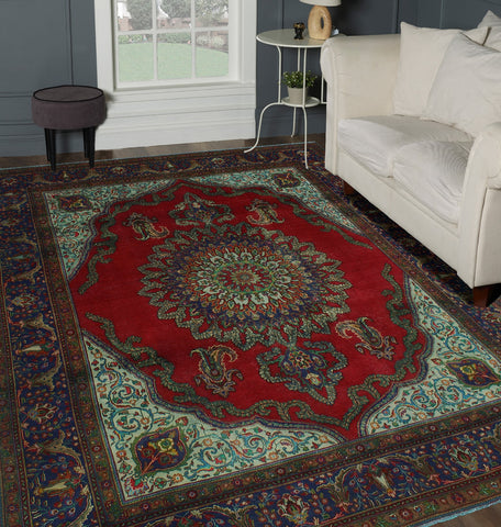 "Semi Antique Gay Red/Navy Rug, 9'9"" x 12'4"""
