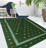 "Berjasta Wilda Green/Red Rug, 6'7"" x 9'7"""