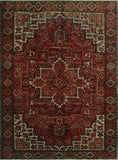 "Semi Antique Bercleah Rusty-Red/Ivory Rug, 8'10"" x 11'6"""