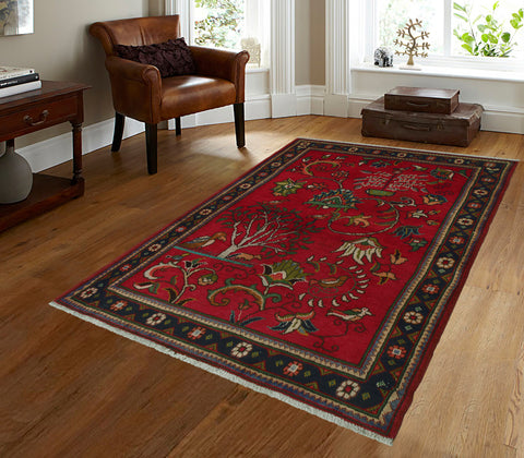 "Semi Antique Wajma Red/Navy Rug, 3'8"" x 5'4"""