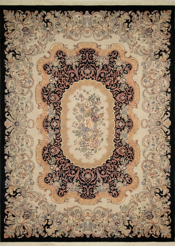 Wali Zafar Black/Bone Grey Rug, 9'2 x 12'5