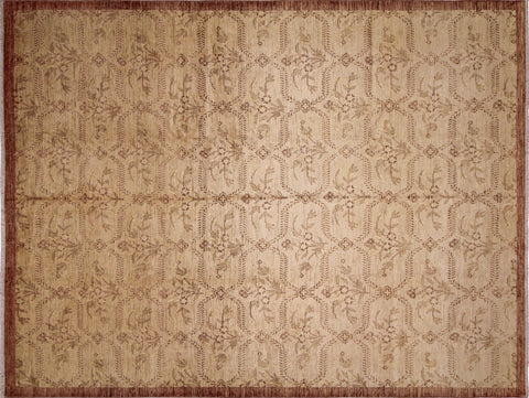 "Sun-Faded Aksamal Gold/Lt. Brown Rug, 10'1"" x 13'3"""