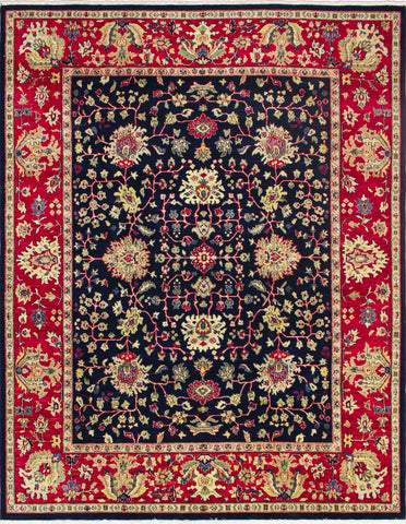 "Peshawar Hanane Blue/Red Rug, 7'9"" x 9'10"""