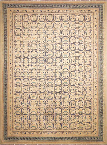 "Sun-Faded Janat Ivory/Lt. Green Rug, 9'11"" x 13'4"""